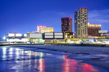 A night view of Atlantic City, New Jersey; a United Claims Specialists service area.