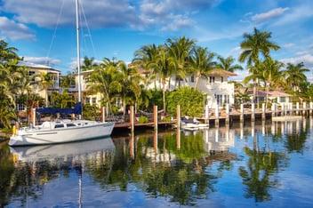 A boat in a marina in Davie Florida