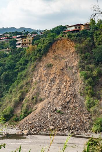 A landslide down a hill on private property, the results of land erosion