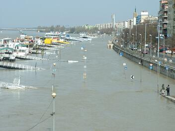A flooded marina, most of the boats are completely flooded