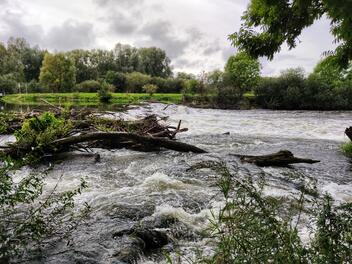 A flooded river after a recent storm