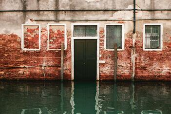 A flooded store front