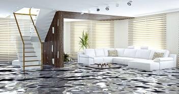 A flooded condo living room