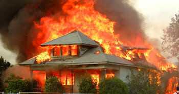 A burning home in Florida