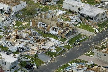 A trailer park that has been entirely demolished by a hurricane