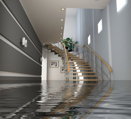 A flooded home in Florida, with water half way up the staircase