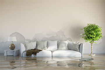 A recently flooded living room in Fort Lauderdal