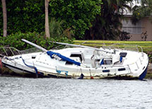 A boat destroyed in a recent hurricane in Florida