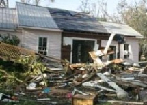 A recently storm damaged home in West Palm Beach