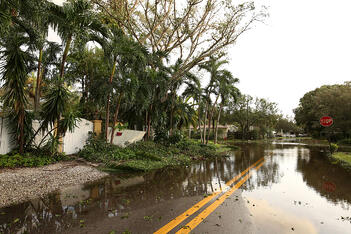 Flood damage on a street from a storm in Florida