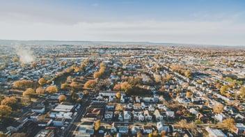 A birds eye view of a neighborhood in New Jersey