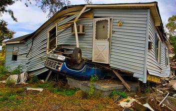 A demolished home after a storm