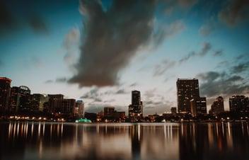 The skyline of Orlando Florida, home of UCS, at night