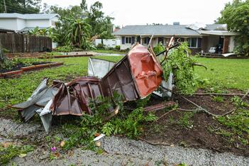 Wind damage ravages a South Florida home.